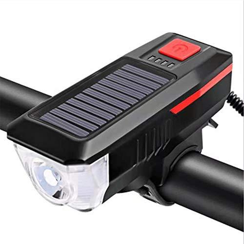 Luz de Bicicleta,Carga Solar/USB,Cuentas de Lámpara LED,Luz de Bicicleta Impermeable,Negra,Adecuada Para Viajes Diarios y de Montaña