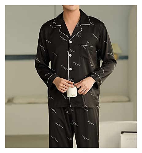 Hombres Satin Pijama Set - Conjunto De Pijama De 2 Piezas con Botones Manga Larga Y Pantalones Ropa...