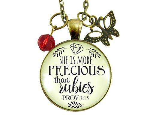 Gutsy Goodness 24' She is More Precious Rubies Necklace Inspirational Faith Jewelry For Cherished Woman