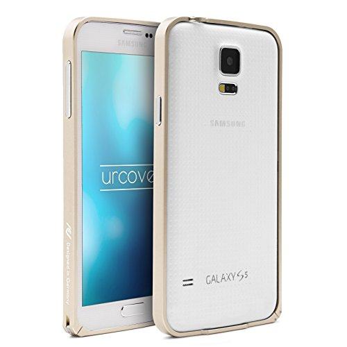 Urcover® Aluminium Bumper kompatibel mit Samsung Galaxy S5 Rahmen in Champagner Gold   Klickverschluss Schutz-Hülle Alu Hülle Metal Rahmen Smartphone Zubehör