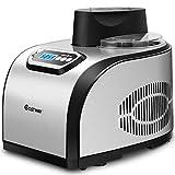 COSTWAY Eiscrememaschine, Eismaschine, Speiseeisbereiter, Yogurt Kompressor, Frozen Eiscreme-Bereiter 150W / 1,5L / Edelstahl/LCD/Timer