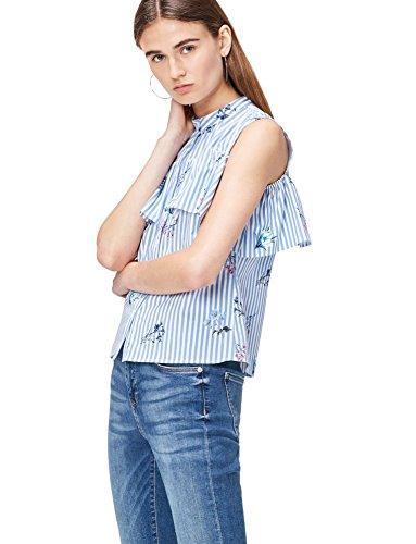 Marca Amazon - find. Camisa de Rayas con Hombros al Aire para Mujer, Azul (Blue Stripe Floral), 46, Label: XXL