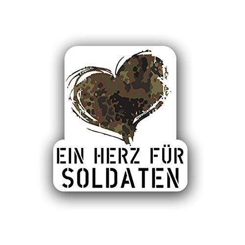 EIN Herz für Soldaten Bundeswehr Flecktarn Aufkleber Sticker 10x9cm#A4353