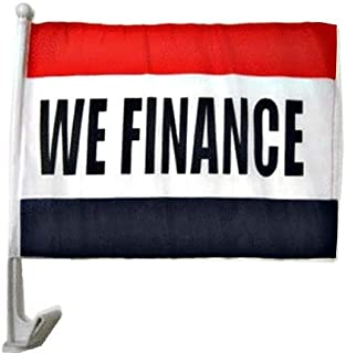 Mission Flags We Finance Car Window Flags Clip On Perfect for Car Auto Sales - Sold by The Dozen