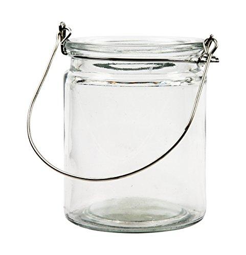 BODA Creative Windlichter, 12 Stück mit Henkel, Laterne Glaslaterne Garten-Deko, Ø 7,6 cm, H 10 cm
