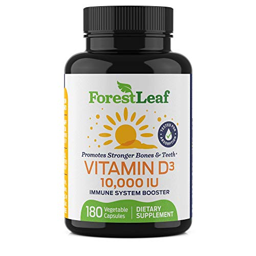 Vitamin D3 10,000 IU Bi-Daily Supplement - 180 Vegetable Capsules - by ForestLeaf
