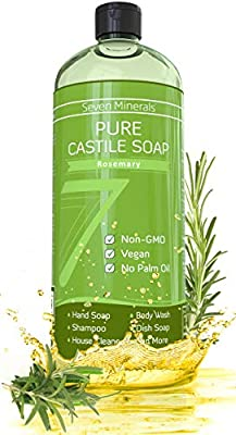 Pure Castile Soap, Rosemary - No Palm Oil, GMO-Free - Gentle Liquid Soap For Sensitive Skin & Baby Wash - All Natural Vegan Formula with Organic Carrier Oils (33.8 fl oz)