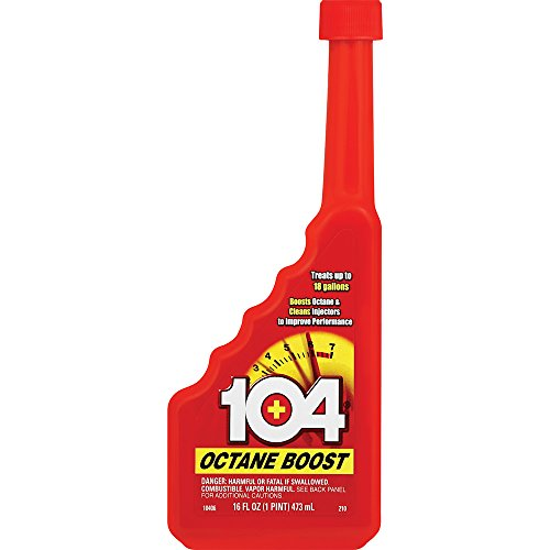 104+ (10406) Octane Boost - Boosts Octane And Cleans injectors To Improve Engine Performance - Improve Gas Mileage - 1 Bottle Treats Up To 18 Gallons, 16 fl. oz.