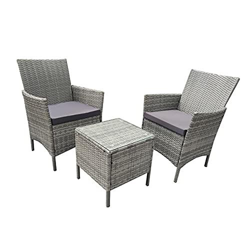 Neo 3-teiliges Rattan-Gartenmöbel-Set Bistro-Set mit Stühlen, Couchtisch, Terrasse, Outdoor (grau)