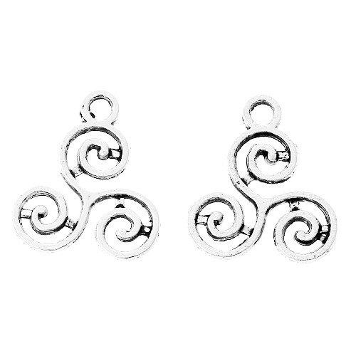 Tibetan Celtic Knot Triskelion Charm Pendants Silver 16mm Pack of 30