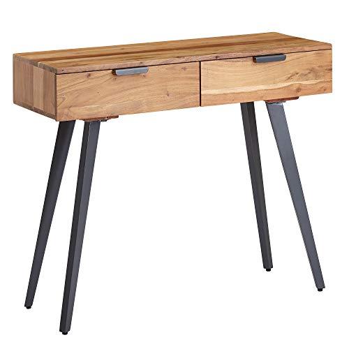 Wohnling - Tavolo console, 90 x 78 x 36 cm, in legno massiccio di acacia e metallo, con cassetti, piccola scrivania con gambe in metallo