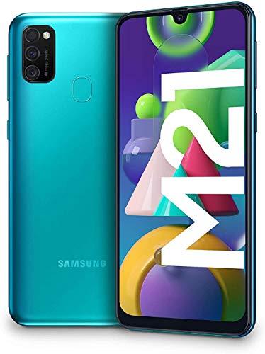Samsung Galaxy M21 - Smartphone Dual SIM de 6.4  sAMOLED FHD+, Triple Cámara 48 MP, 4 GB RAM, 64 GB ROM Ampliables, Batería 6000 mAh, Android, Versión Española, Color Verde
