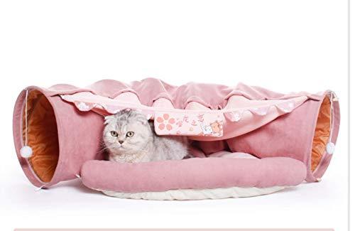 KaBurger® Katze Tunnel Pet Cat Play Tunnel Tube Kätzchen Spielzeug,Faltbar Katzentunnel Katzenspielzeug Rascheltunnel für Katzen (Pink)