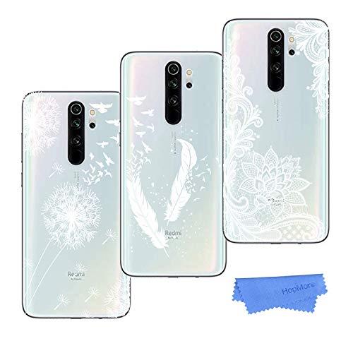HopMore 3 Pack Funda para Xiaomi Redmi Note 8 Pro Silicona Transparente Dibujos Panda Bonita Flor TPU Carcasa Redmi Note 8 Pro Ultrafina Cover Resistente Case Caso Antigolpes - Motiv C