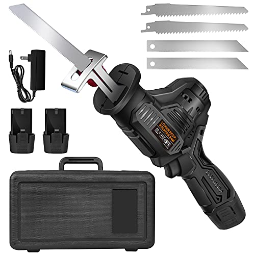 Reciprocating Saw, Cordless Reciprocating Saw Battery Powered, Electric Reciprocating Saw, 0-3000 SPM Variable Speed, Tool-Free Blade Change, 4 Saw Blades for Wood Metal Cutting Pruning