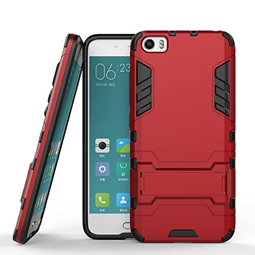 ZHIWEI Bolso de un teléfono portátil para La Caja del Teléfono del Soporte del Soporte Xiaomi 5, Cubierta Posterior del Asistente De Asteroide, Cubierta Protectora (Color : Red)