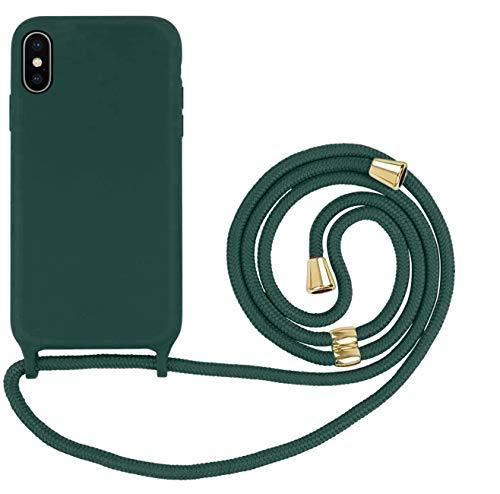 Oihxse - Carcasa de silicona con cordón de Lanyard compatible para iPhone XR con carcasa de silicona líquida ajustable para cuello y correa de cuerda, carcasa antigolpes, ultrafina, color negro