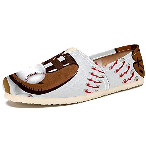 TIZORAX Slipper für Damen, Baseball-Handschuh, bequem, lässig, Segeltuch, flach, Größe 36, Mehrfarbig - mehrfarbig - Größe: 39 EU