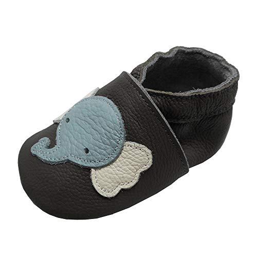 YIHAKIDS Weiche Krabbelschuhe Babyschuhe Lauflernschuhe Kleinkind Lederschuhe Hausschuhe Lernlaufschuhe Elefant Grau(Size S, 19/20 EU, 0-6 Monate)
