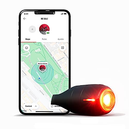 Vodafone Luz Trasera de Bicicleta Inteligente, Curve Bike Light&GPS Tracker - Luz de Freno con Localizador GPS, Detección de Impactos, y Alarma de Seguridad – Incluye Suscripción 6 Meses