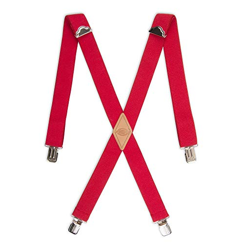 Dickies Men's 1-1/4 Solid Straight Clip Suspender, Red, One Size