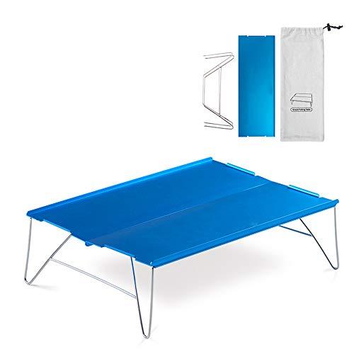 Mini-Fold Camping Table, Ultraléger extérieur Bureau avec vers Le Haut Tabletop Edge, Sac de Transport - en Alliage d'aluminium Support en métal - pour extérieur Pique-Nique Plage Randonnée
