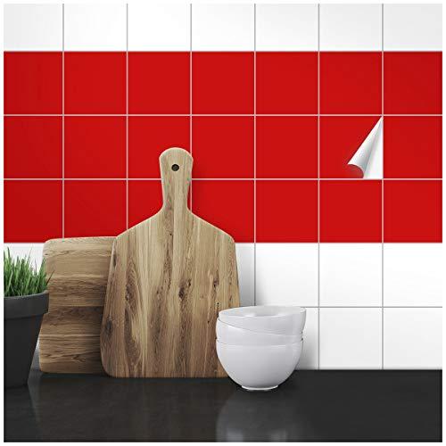 Wandkings Fliesenaufkleber - Wähle eine Farbe & Größe - Rot Seidenmatt - 10 x 10 cm - 200 Stück für Fliesen in Küche, Bad & mehr
