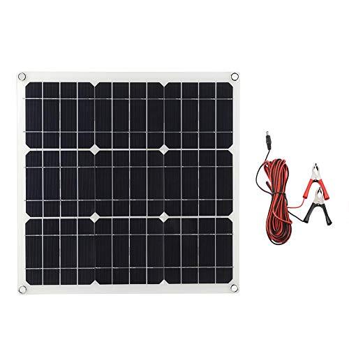 EBTOOLS 30W Solarpanel Solar Ladegerät Monokristalline Solarmodule mit 4 m Clipkabel, Flexibles Solaranlage für Autobatterien Autos Wohnmobile Boote 18V Batterien, 30 Grad gebogen
