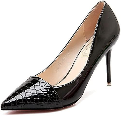 High-heel Schuhe fein mit Spitze und vielseitige Arbeit mode Damenschuhe elegante Bare-metal-Farbe light-Schuh, 39, schwarz 10 cm