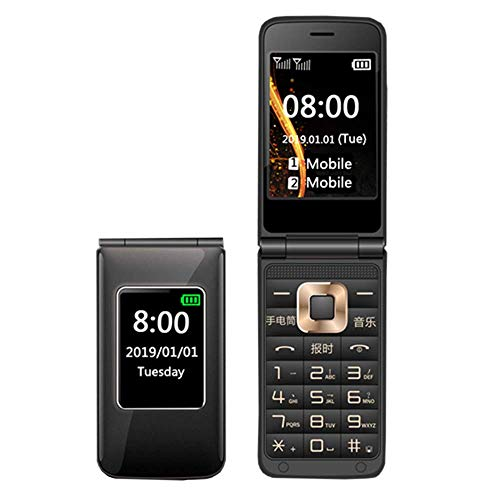 Teléfono móvil con botón grande para personas mayores, teléfono móvil abatible para personas mayores, con cubierta GSM, doble SIM, desbloqueado gratis con pantalla LCD de 2,8 pulgadas, radio / cámara