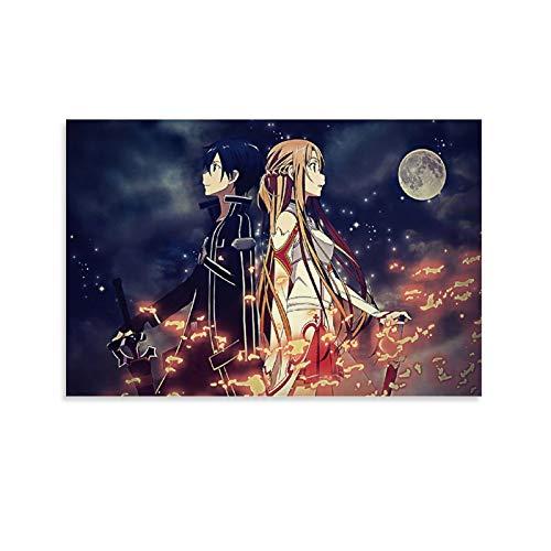 YEROU Anime Espada Arte Online Poster Pintura decorativa Lienzo Arte de la pared Carteles Sala de estar Pintura Dormitorio 50 x 75 cm