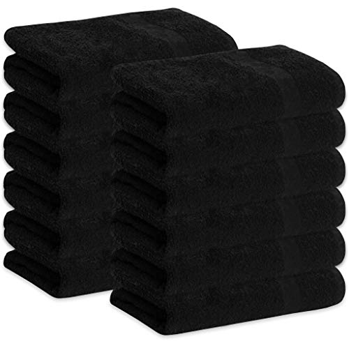 GREEN LIFESTYLE 12 Pack Black Bleach Proof Towels Bulk Sets 100% Cotton 16' X 28' Color Safe, Stain Resistant, Quick Drying Towels for Beauty, Hair and Nail Salon, Gym, Spa and Home Hair Care