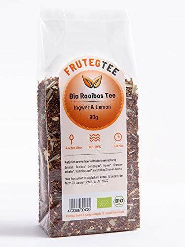 FRUTEG Bio Rooibos-Mischung Ingwer & Lemon 90g I Loser Rotbusch-Tee in feinster Blatt-Qualität - koffeinfrei I Fruchtig-Frischer Genuss I Aus kontrolliert biologischem Anbau I 90 g