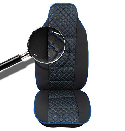 1x Sitzauflage LKW-Sitz Sitzbezug Sitzkissen schwarz + Blaue Naht LKW Sitzschöner