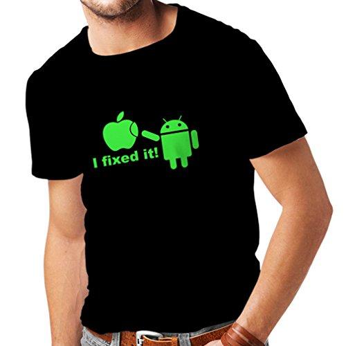 Camisetas Hombre Android Robot y la Manzana - Divertido diseño paródico humorístico (Large Negro Verde)