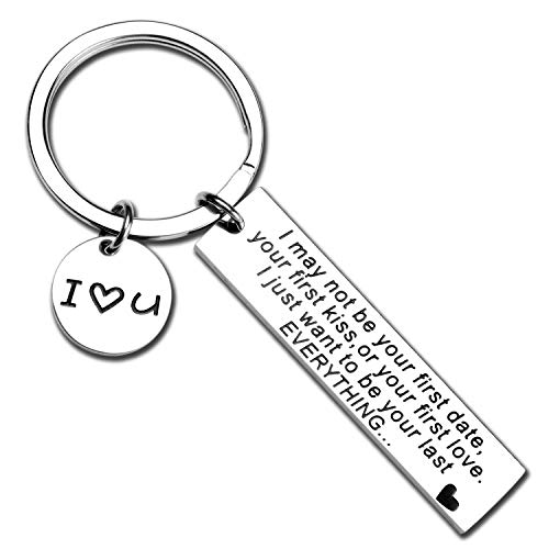 Proposal Gift For girlfriend Boyfriend I May Not Be Your First Date Keychain Couples Love Lettering Keychain Valentine's Day Gifts for Wife Husband Couples Birthday Gift For Him Or Her (everything-KR)