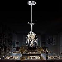 HLY シンプルなライト、ライトランプモダンクリスタルレインドロップ照明フラッシュマウントLed天井照明器具ペンダントランプダイニングルームバスルームベッドルームリビングルームワイングラス形状透明ガラス照明、色,A