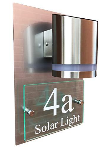 MODERN LED SOLAR HOUSE SIGN GLASS ACRYLIC ALUMINIUM EFFECT SOLAR POWERED MODERN SIGN