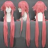 Anime Cosplay Pelucas Postizos para Adultos para Future Diary Yuno Gasai, Halloween Hair + Wig Cap, Party Hair Wigs for Men Women