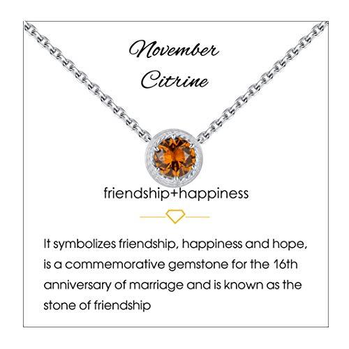 Qings Collar de Piedra de Nacimiento de Noviembre Plata de Ley 925 Citrino Piedra de Nacimiento de Piedra Preciosa Collares Colgante Collares de Mujer para Mujer Cumpleaños