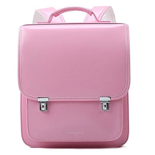 Schultasche, Kinder-Schulranzen, Kinder-Rucksack, für Jungen und Mädchen, wasserdicht, aus Polyurethan, japanischer Stil, Handtasche, Anti-Diebstahl, Lichtstreifen Gr. One size, rose