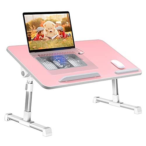 AWJ Laptop -Schreibtisch für Bett,Ständer Einstellbare Lap Bett -Behälter -Klapptischs Lap mit interner USB -Lüfter,Stehpult für Home Office Gaming Schreiben,passend fü