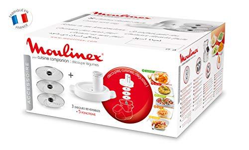 Moulinex Accesorios XF383110 - Accesorio cortador de 3 discos, eje rotación, tapa con doble tubo, color blanco para Cuisine Companion y Cuisine iCompanion, fácil de guardar