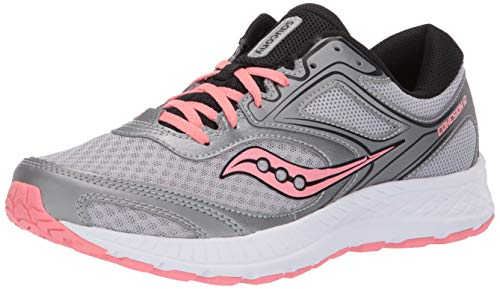Saucony Women's VERSAFOAM Cohesion 12 Road Running Shoe, Silver/Pink, 8.5 M US