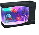 Transplant Artificial Mini Aquarium Fish Tank Color LED Aquarium Ornament with 3 pcs Fake Decoration Fish-Battery/USB Powered