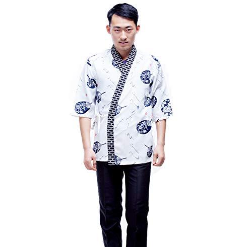 Jolie Unisex Sushi Kochjacke Japanischer Kimono Hemd Küchenuniform Sushi Arbeitskleidung,M