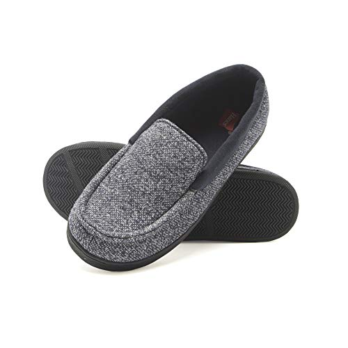 Hanes boys Moccasin House Shoe With Indoor Outdoor Memory Foam Sole Fresh Iq Odor Protection Slipper, Navy Knit, Small Little Kid US
