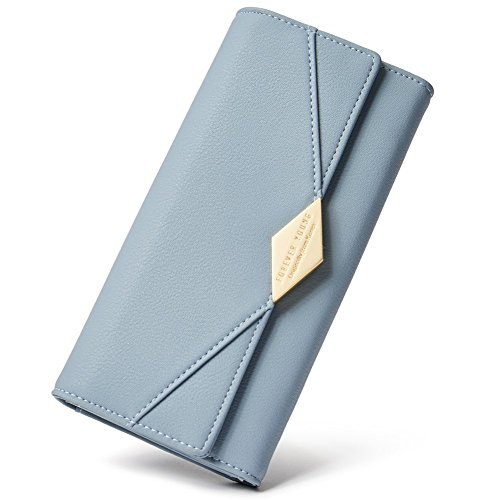 Damen Geldbörse Weich Leder viele Kartenfächer Lang Portemonnaie Clutch Geldbeutel für Frauen mit Münzfach Blau