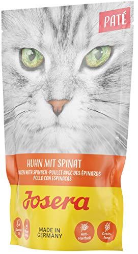 JOSERA Paté Huhn mit Spinat, getreidefreies Katzenfutter mit Lachsöl, Super Premium Nassfutter für ausgewachsene Katzen, 16er Pack (16 x 85 g)