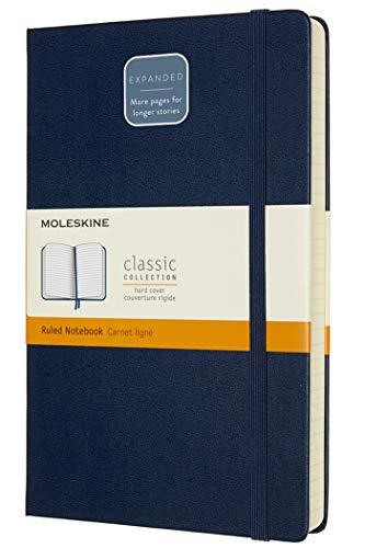 Moleskine - Klassisches Notizbuch, Linierte Seiten, fester Einband und elastischer Verschluss, Größe 13 x 21 cm, Farbe Saphir Blau, 400 Seiten